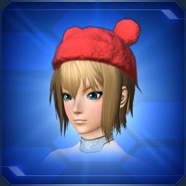 耳付きポンポン帽 赤
