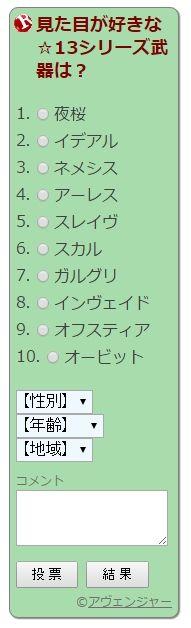 見た目が好きな☆13シリーズは?